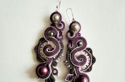 kolczyki sutasz z perłami Swarovski fiolety