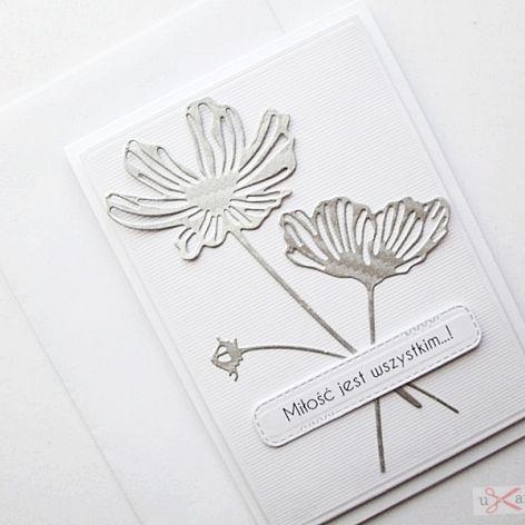Kartka NA ŚLUB - srebrzyste kwiaty