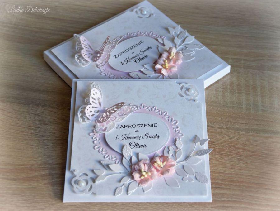 Zaproszenie Komunijne z motylkiem w pudełku -