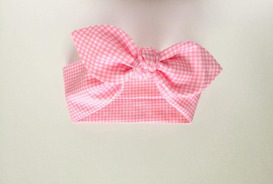 Opaska pin up w kratę różowa biała pepitka