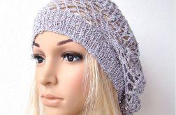 wiosenno-letni ażurowy beret szaro-srebrny