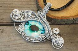 Wisior wire wrapping błękitne smocze oko