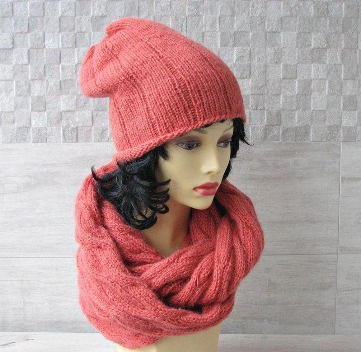 Komin plus czapka. Komplet w kolorze koralowy - komplet handmade