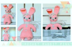 Zabawkaprzytulanka CROCHET RABBIT Pinky