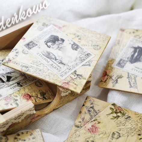 PODKŁADKI POD KUBEK vintage - decoupage