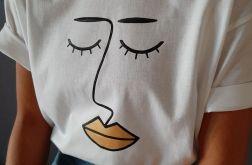 Koszulka ręcznie malowana gold lips unisex