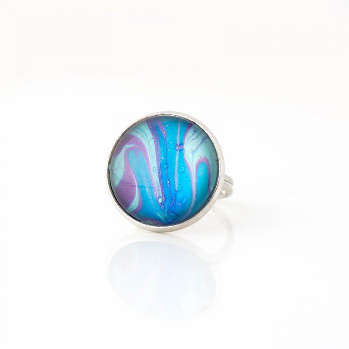 Ręcznie malowany pierścionek - Dark Water
