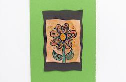 Kartka zielona z kwiatkiem  7