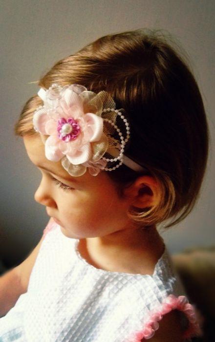 Opaska kwiat różowa ecru biała dziewczynki