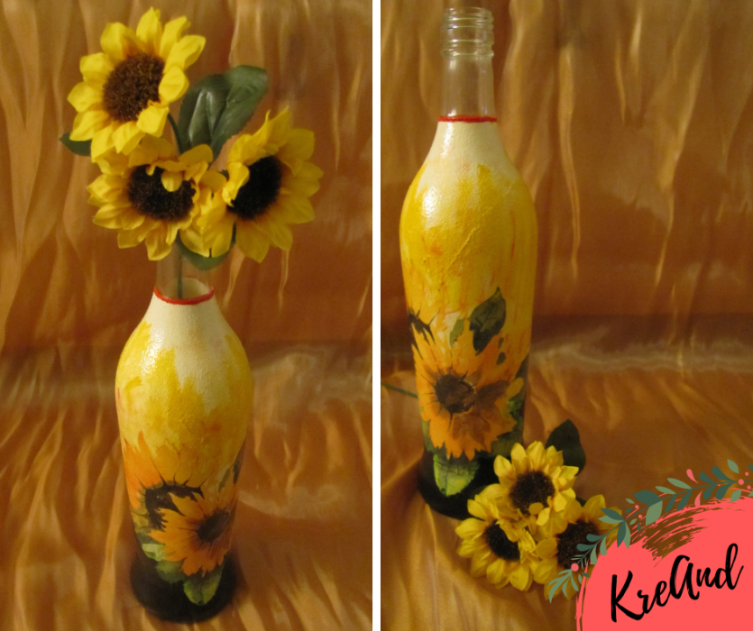 KreAnd: Butelka  - słoneczniki