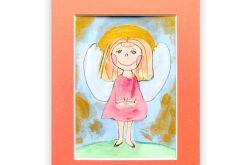 Mały aniołek obrazek malowany ręcznie