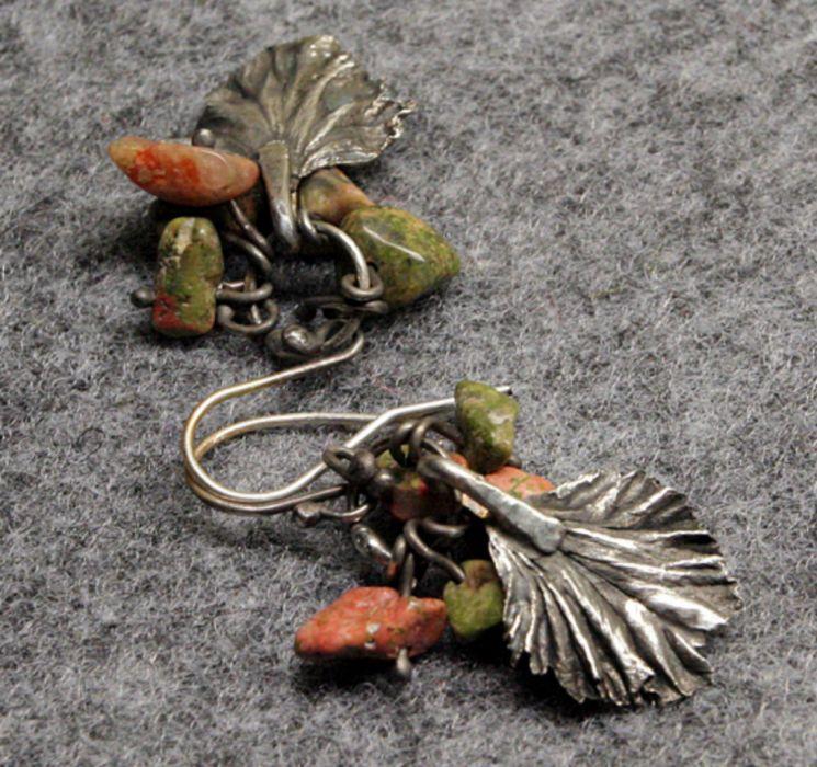Unakitowe liście - srebrne listki