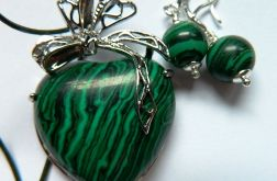 Zielony malachit, serce, zestaw biżuterii