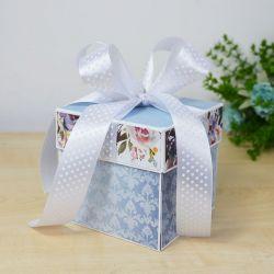 Niebieski i kwiaty - ślubny exploding box