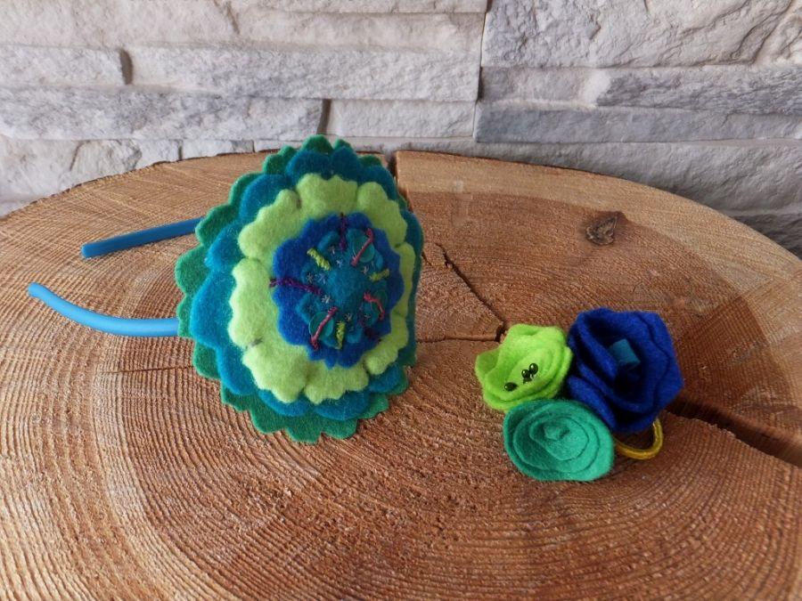 Opaska do włosów i gumka z filcu zielony