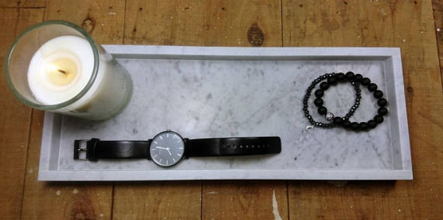 Taca z marmuru Bianco Carrara 40 x 15 cm