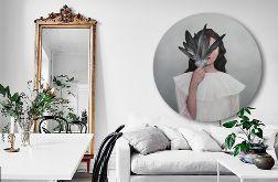 Dziewczyna z Piórami - Obraz na okrągłej ramie