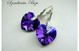 Kolczyki Swarovski Elements Heart 14mm Heliotrope 1
