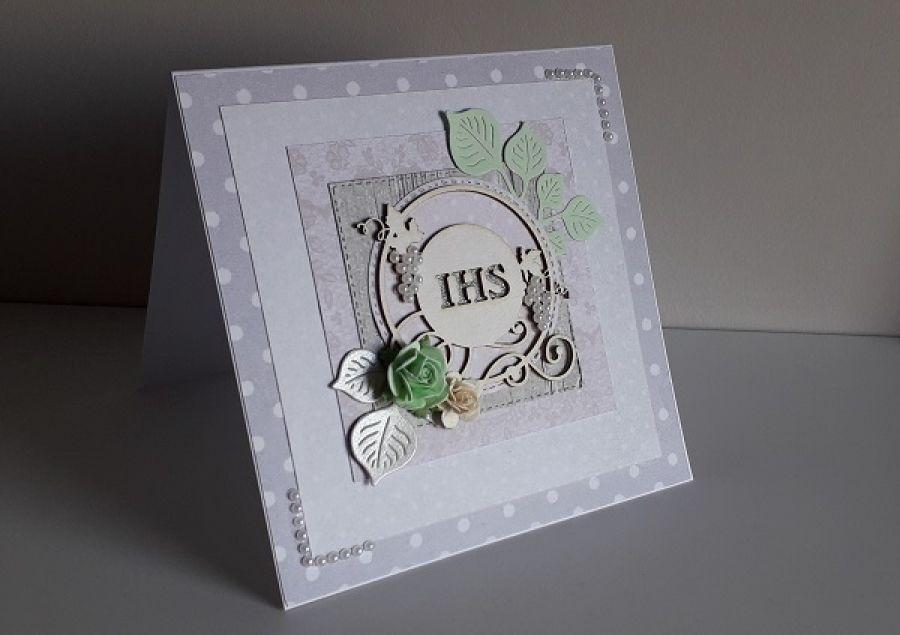 Kartka na Komunię Świętą perełki IHS 1