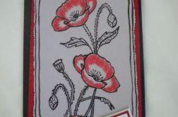 Kartka - maki kwitnące