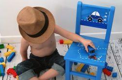 niebieskie krzesełko z oparciem samochody