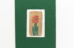 Kartka  ciemnozielona z kwiatkiem  4
