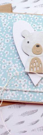 miś Wiosenny - kartka na roczek, urodzinki