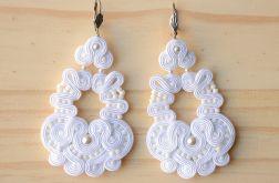 Duże białe kolczyki ślubne z perłami