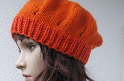 pomarańczowy klasyczny beret wełniany