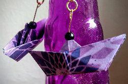 Kolczyki origami łódki fioletowe