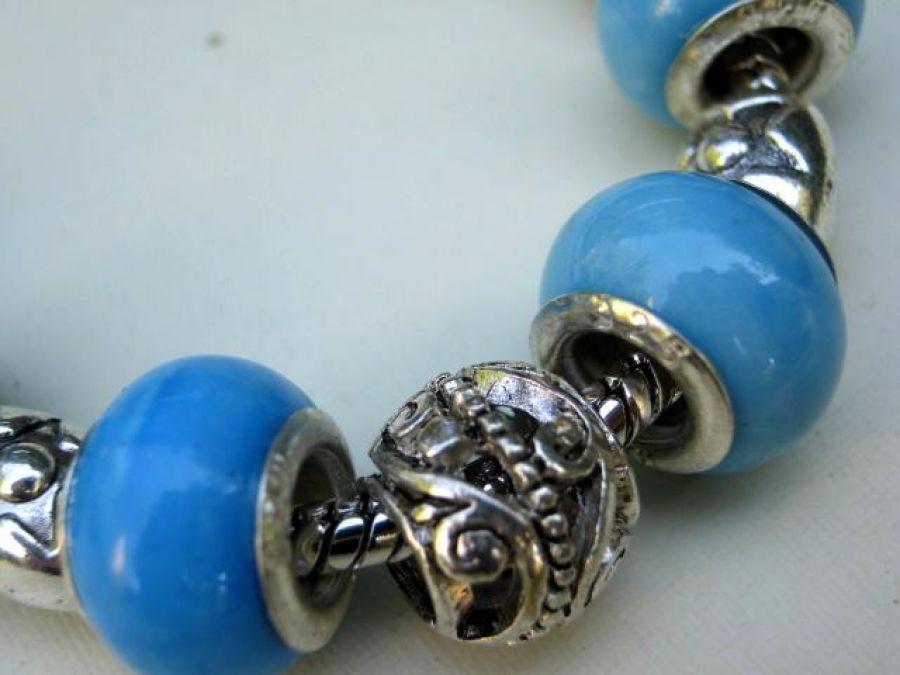 Bransoletka modułowa, błękitna porcelana w srebrze