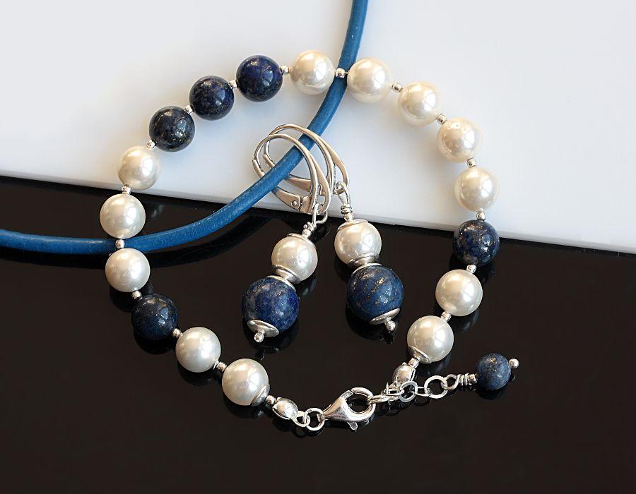 Bransoletka z pereł i lapis lazuli - perły Seashell, lapis lazuli, srebro kolczyki