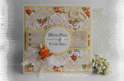 Kartka ślubna żółto pomarańczowa