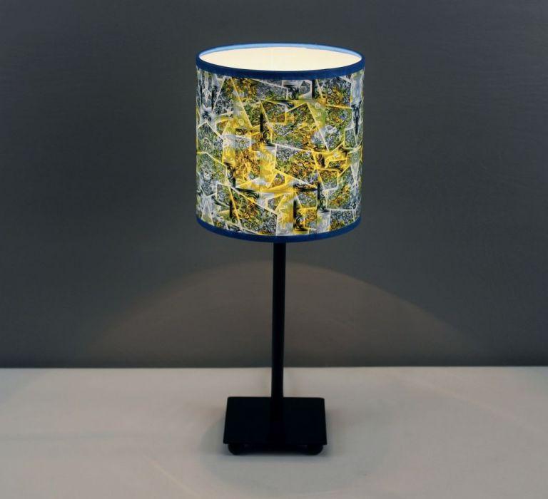 Błękitno-zielona lampa nocna sEN kOSIARZA 5 S - Wysokość lampy z abażurem - 38cm.