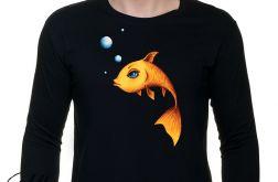 Złota rybka - rękaw - męska czarna