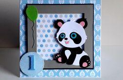 Kartka na Roczek dla dziewczynki miś panda 2