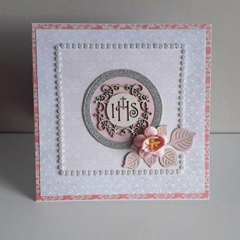 Kartka na Komunię Świętą perełki różowa