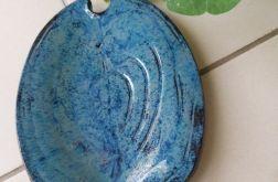 Patera ceramiczna liść błękitny