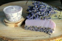 Upominek lawenda świeca sojowa bukiet i mydło