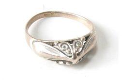 94 pierścionek vintage, stare, polskie srebro