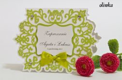 Zaproszenie na ślub z ornamentem kolor oliwkowy