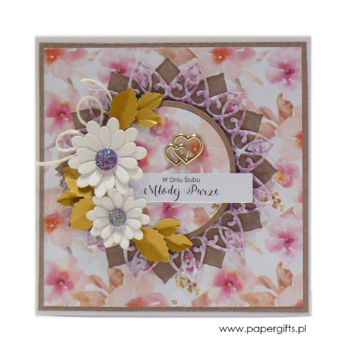 Kartka ślubna białe i pastelowe kwiaty - Kartka na ślub białe kwiaty ze złotem