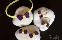 #3 Fiolet-Żółty - Zestaw:Spinki, gumki i opas