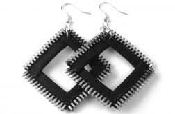 Designerskie kolczyki czarne kwadraty