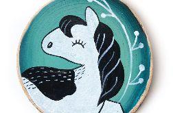 Mustang ilustracja malowana na drewnie