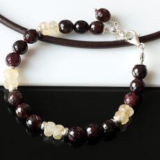 Granat z cytrynem - bransoletka
