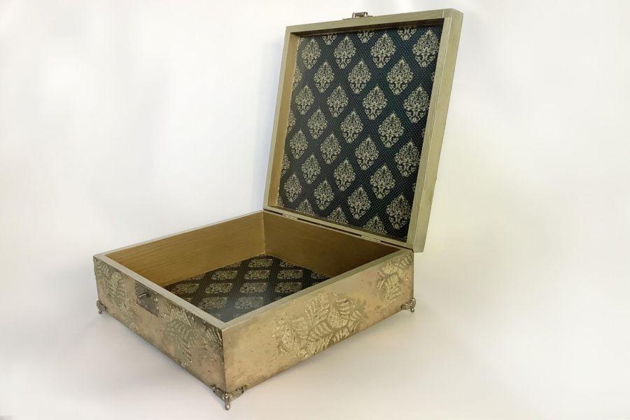 Szkatułka, pudełko vintage gold -
