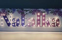 Obraz LED z imieniem, kwiaty, bez, na baterie