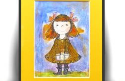 Dziewczynka, malowany obrazek dla dzieci