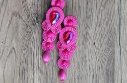 Różowe długie elegancki kolczyki sutasz